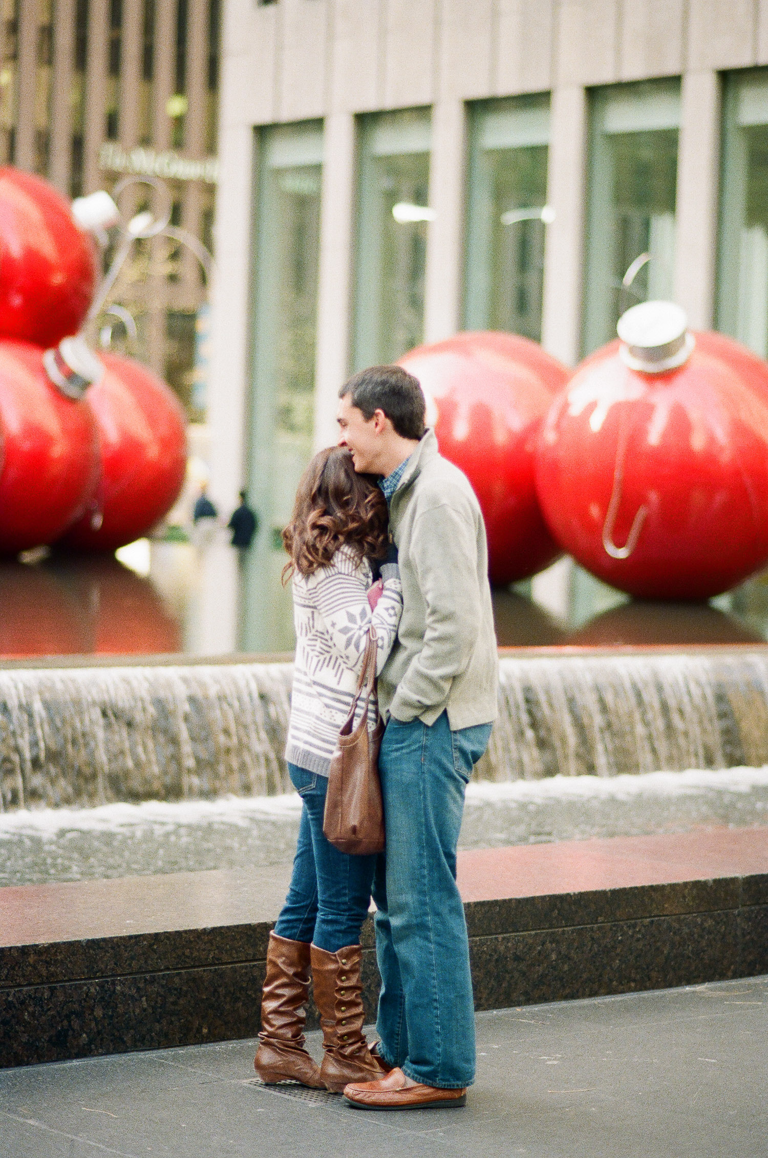 film photo of surprise proposal in nyc