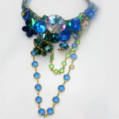 Blue Chanel Chain Dangle Necklace, Fashion Jewelry Design by Wendy Gell