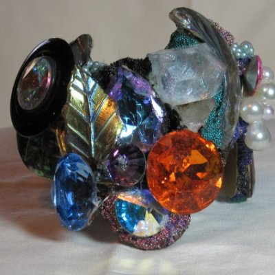 Wristy with Large Orange Jewel by fashion jewelry designer Wendy Gell