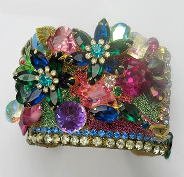 Jeweled Flower Garden Wristy Cuff Bracelet, Fashion Jewelry Design by Wendy Gell