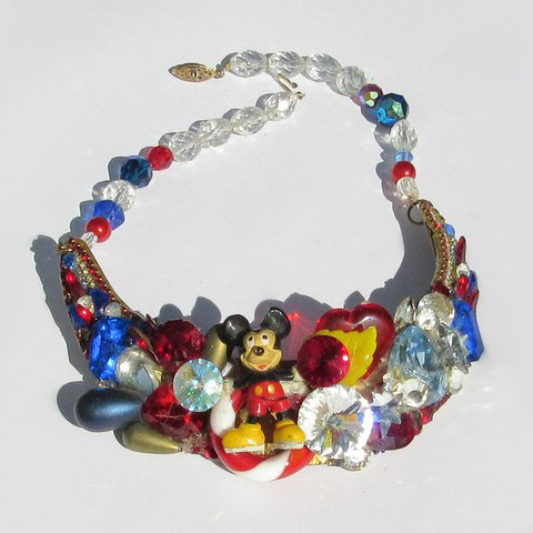 Mickey Mouse Crescent Necklace, Fashion Jewelry Design by Wendy Gell