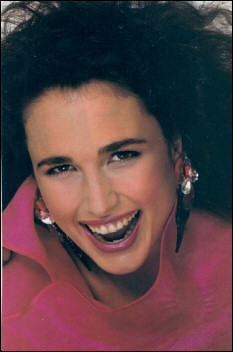 Andie MacDowell, a great smile and sparkling pair of earrings in American Vogue