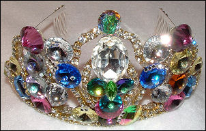 Multicolor Jeweled Tiara by renowned Fashion Jewelry Designer Wendy Gell