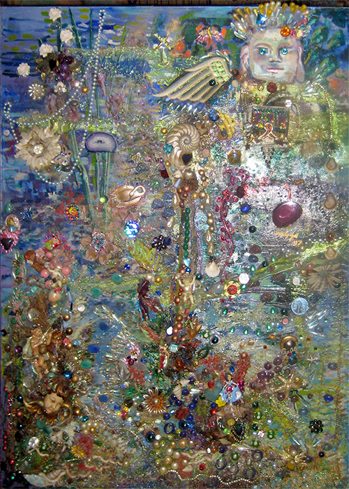 Buddha by the Lake, jewel encrusted mosaic, Gelastic Art by Wendy Gell