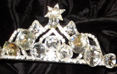 Bridal Tiara with Large Crystal and Sparkling Star, by renowned Fashion Jewelry Designer Wendy Gell