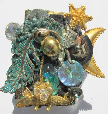 Golden Magic Lizard Wristy Cuff Bracelet, Fashion Jewelry Design by Wendy Gell