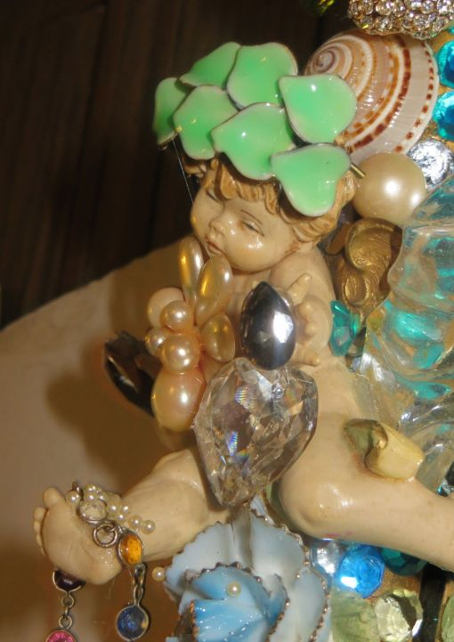 """3' 4"""" tall oval Magical Jeweled Mirror, insanely encrusted with cherubs, angels, jewels, pearls, and more by fashion jewelry designer Wendy Gell. Detail shot #3"""