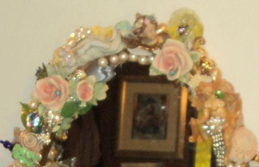 """3' 4"""" tall oval Magical Jeweled Mirror, insanely encrusted with cherubs, angels, jewels, pearls, and more by fashion jewelry designer Wendy Gell. Detail shot #4"""
