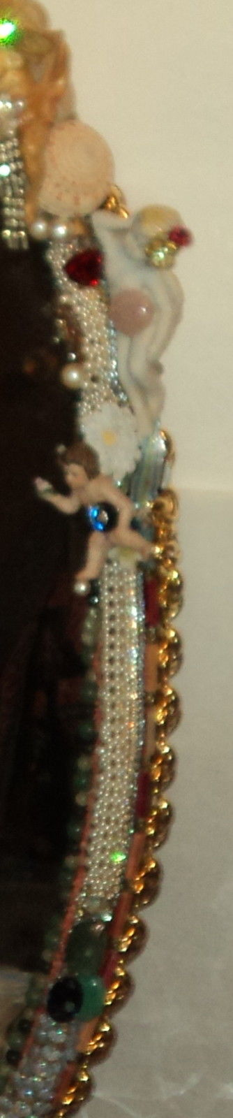 "3' 4"" tall oval Magical Jeweled Mirror, insanely encrusted with cherubs, angels, jewels, pearls, and more by fashion jewelry designer Wendy Gell. Detail shot #5"