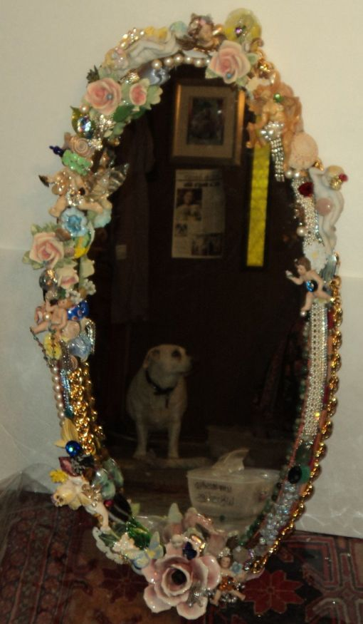 "3' 4"" tall oval Magical Jeweled Mirror, insanely encrusted with cherubs, angels, jewels, pearls, and more by fashion jewelry designer Wendy Gell"