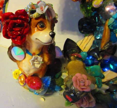 Lady and the Tramp Mirror by Wendy Gell - Lady Detail