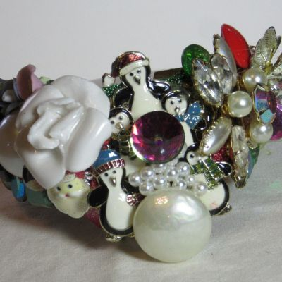 Penguin bracelet Penguin Pyramid wristy cuff for Christmas by fashion jewelry designer Wendy Gell