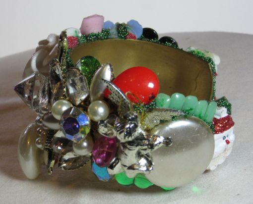 Penguin bracelet Penguin Pyramid wristy cuff for Christmas by fashion jewelry designer Wendy Gell. Detail 2