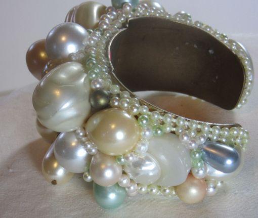 Pop Art Pearl Cuff Bracelet Bridal Wristy by fashion jewelry designer Wendy Gell - detail 2