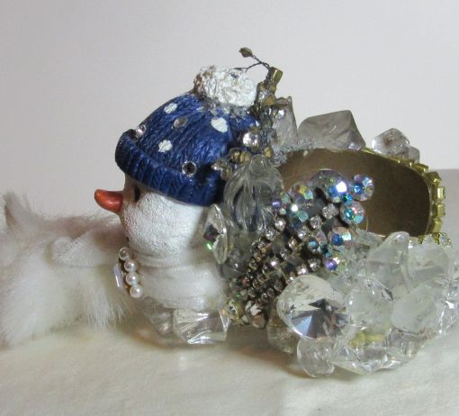 Snowman with Muffler Wristy for Christmas time by fashion jewelry designer Wendy Gell. Detail 1