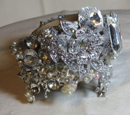 All Swarovski Bridal Bracelet Cuff by Wendy Gell