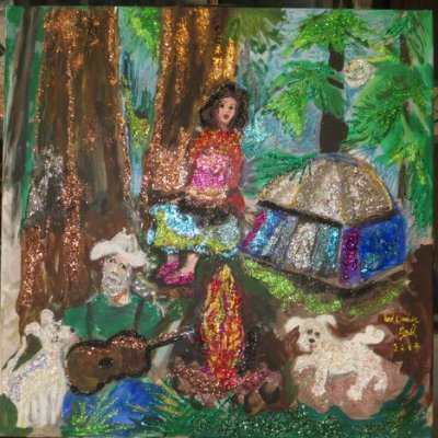 Magical Camping, gelastic art by Wendy Gell to make you smile!