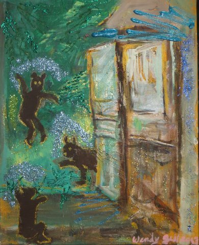Fantasy Bears at the Cottage Door, mixed media painting by Wendy Gell