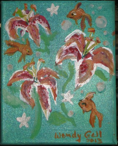 Lilies and Goldfish, mixed media painting by Wendy Gell, 2013.