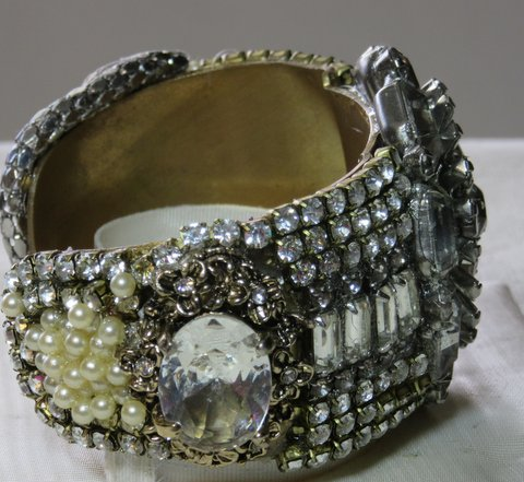 Stargate Crystal Bridal Cuff Bracelet by jewelry designer Wendy Gell, side detail