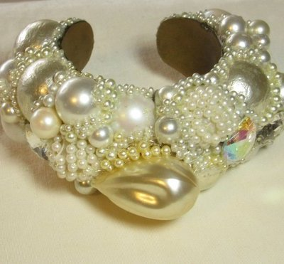 Bridal Carved Pearl Wristy cuff bracelet by jwelry designer Wendy Gell