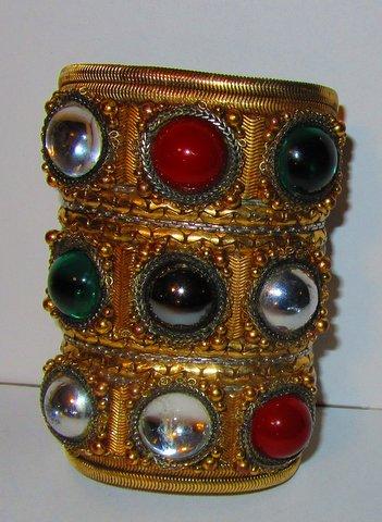 Byzantine Wristy Cuff Bracelet, made for an Oscar de la Renta runway show by celebrated jewelry designer Wendy Gell