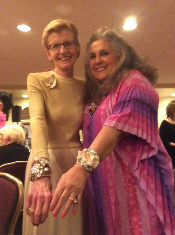 Wendy and a praticipant in her workshop show their jeweled wristies and the 2015 CJCI Convetion, Rhode Island