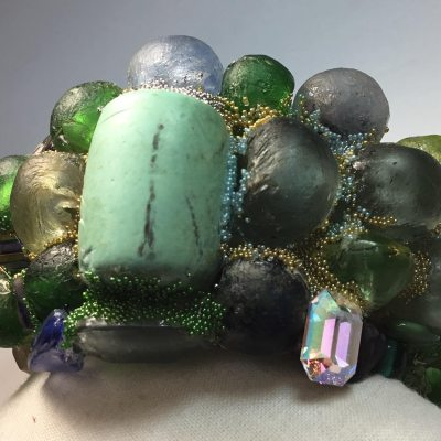 Vaseline Glass Wristy made with beach glass from Venice and Africa by Wendy Gell
