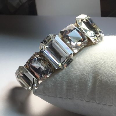 All Swarovski Crystal Wristy cuff bracelet by Wendy Gell - front view