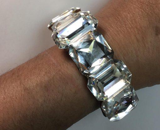 Large Swarovski Crystal wristy by Wendy Gell- shown on wrist