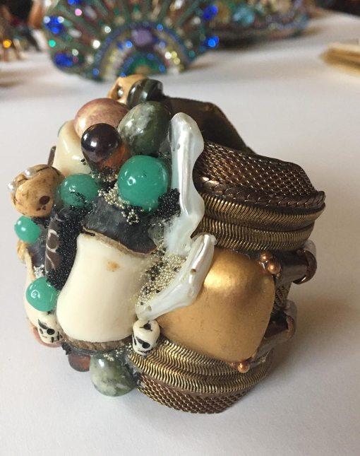 Bejeweled Skulls and Bones Wristy by Wendy Gell