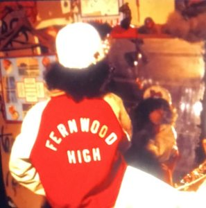Wendy at age fiften wearing her Fernwood High jacket