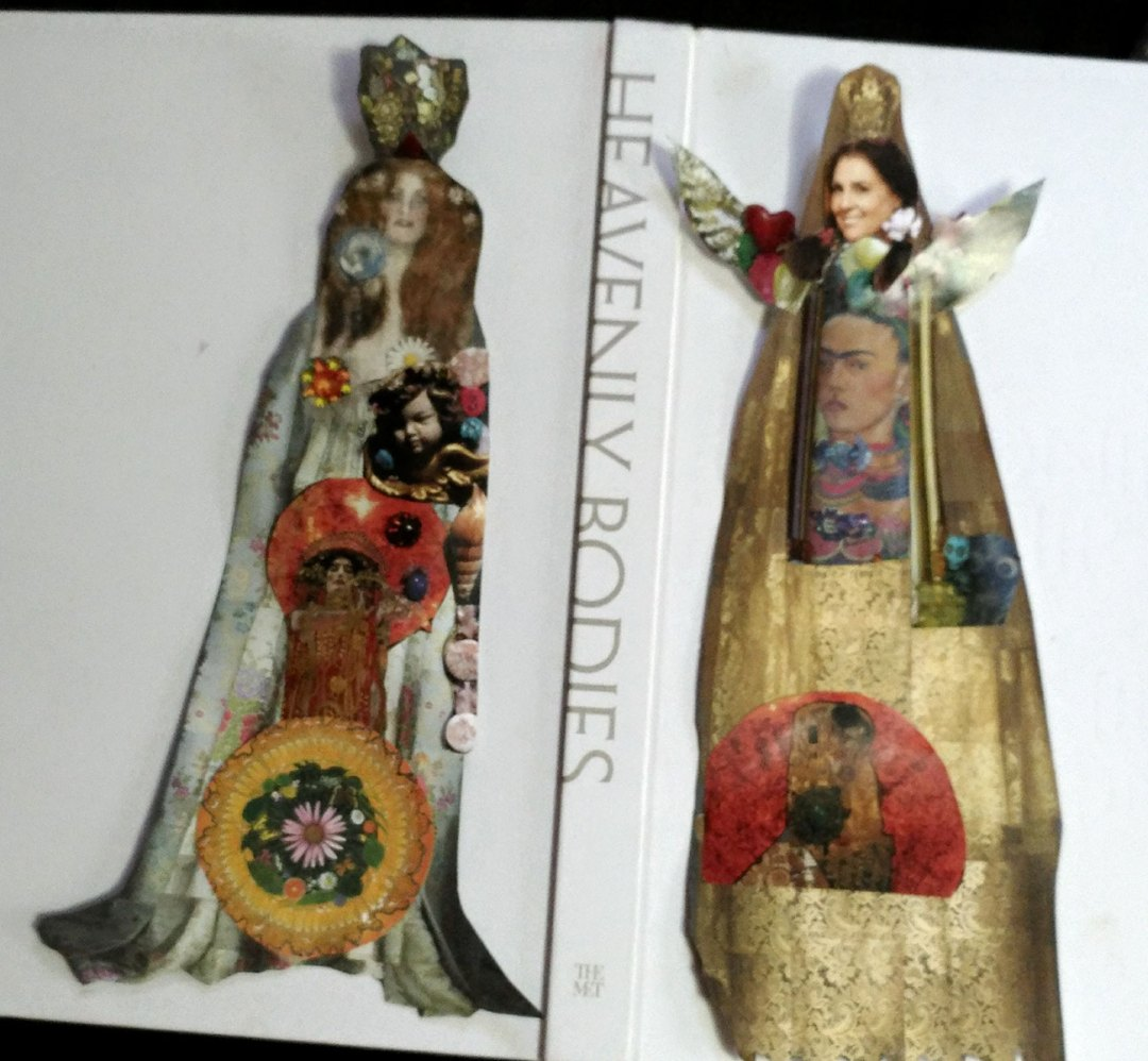 Ironic Iconic Paper Doll series, based on the NY Metropolitan Museum of Art  2019 show 'Heavenly Bodies,' by Wendy Gell. This is a look at two paper dolls and the binding of the book from the Museum tour.