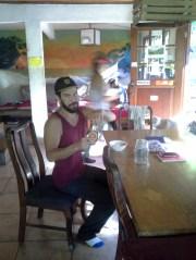 Nigel enjoying his sugar syrup ( he made it....)