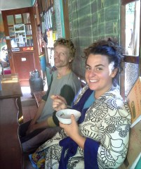 Katie and Edo, early breakfast. Considering their chores