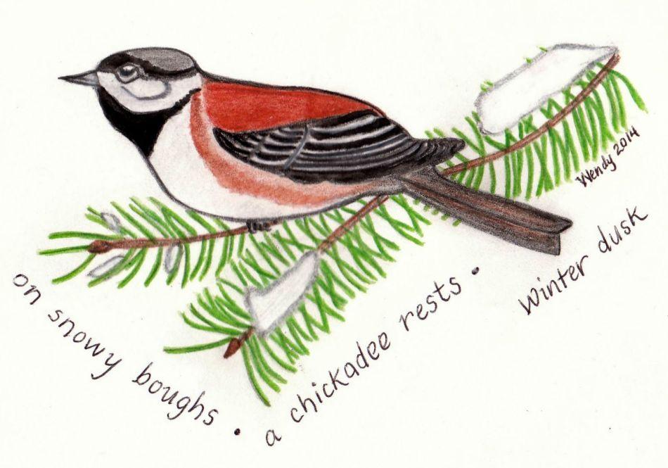 Chickadee Haiga