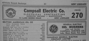 Campsall Electric Co. is still serving the area. Ironically, the number of stores had DEcreased since 1952 despite a huge growth in citizens. So glad to have Campsall's around for some of the older, harder to find stuff.