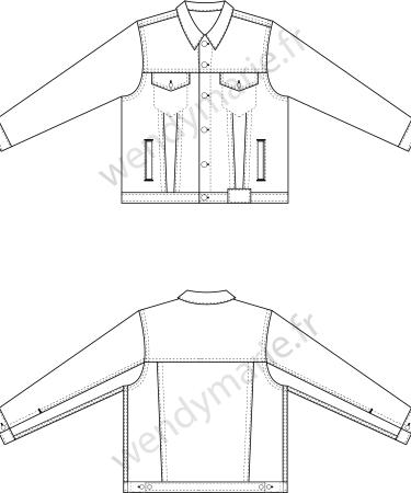 dessin technique veste denim