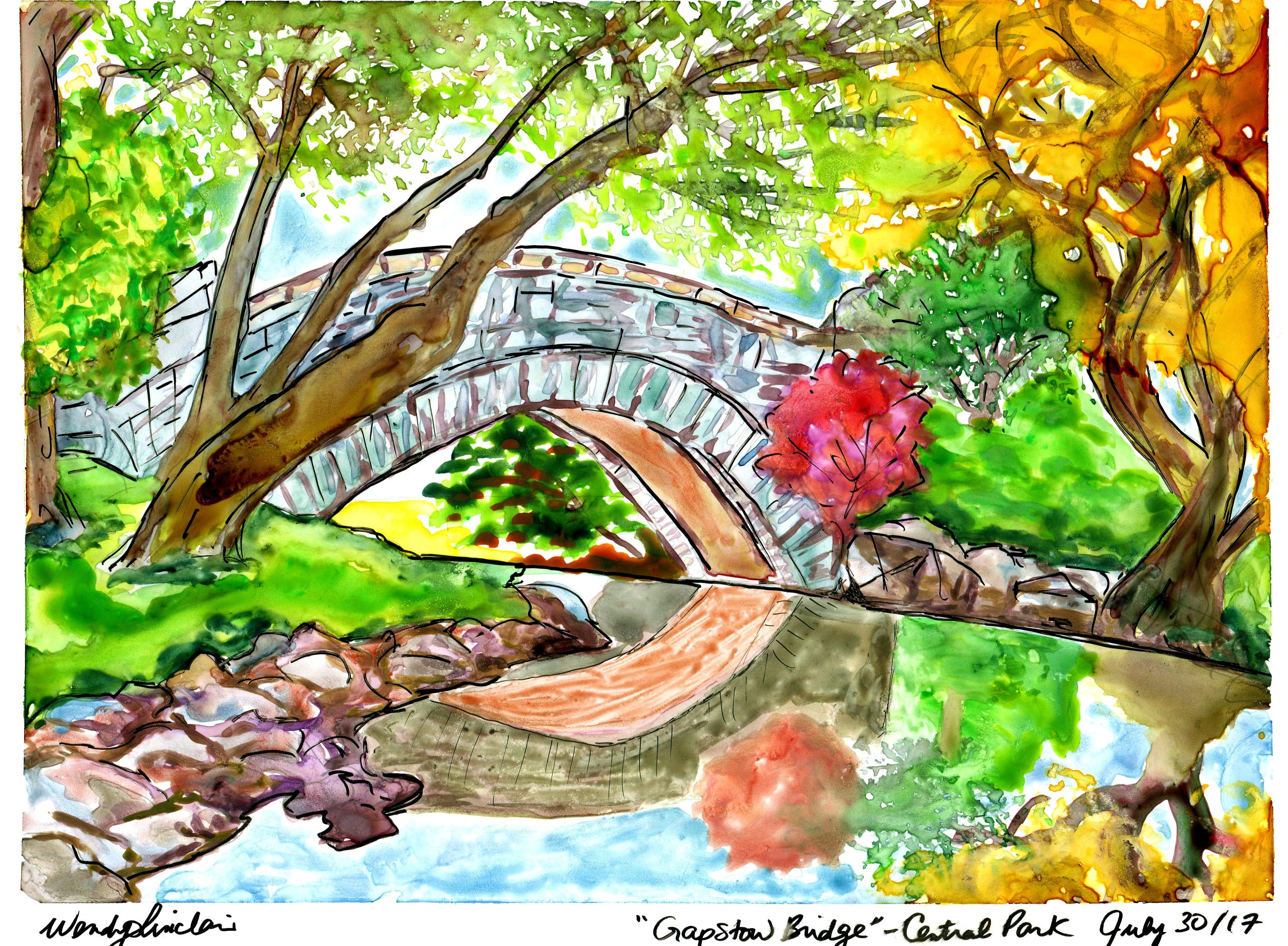 Original watercolour painting by Wendy Sinclair, Toronto artist while on vacation with her kids in New York City's Central Park.