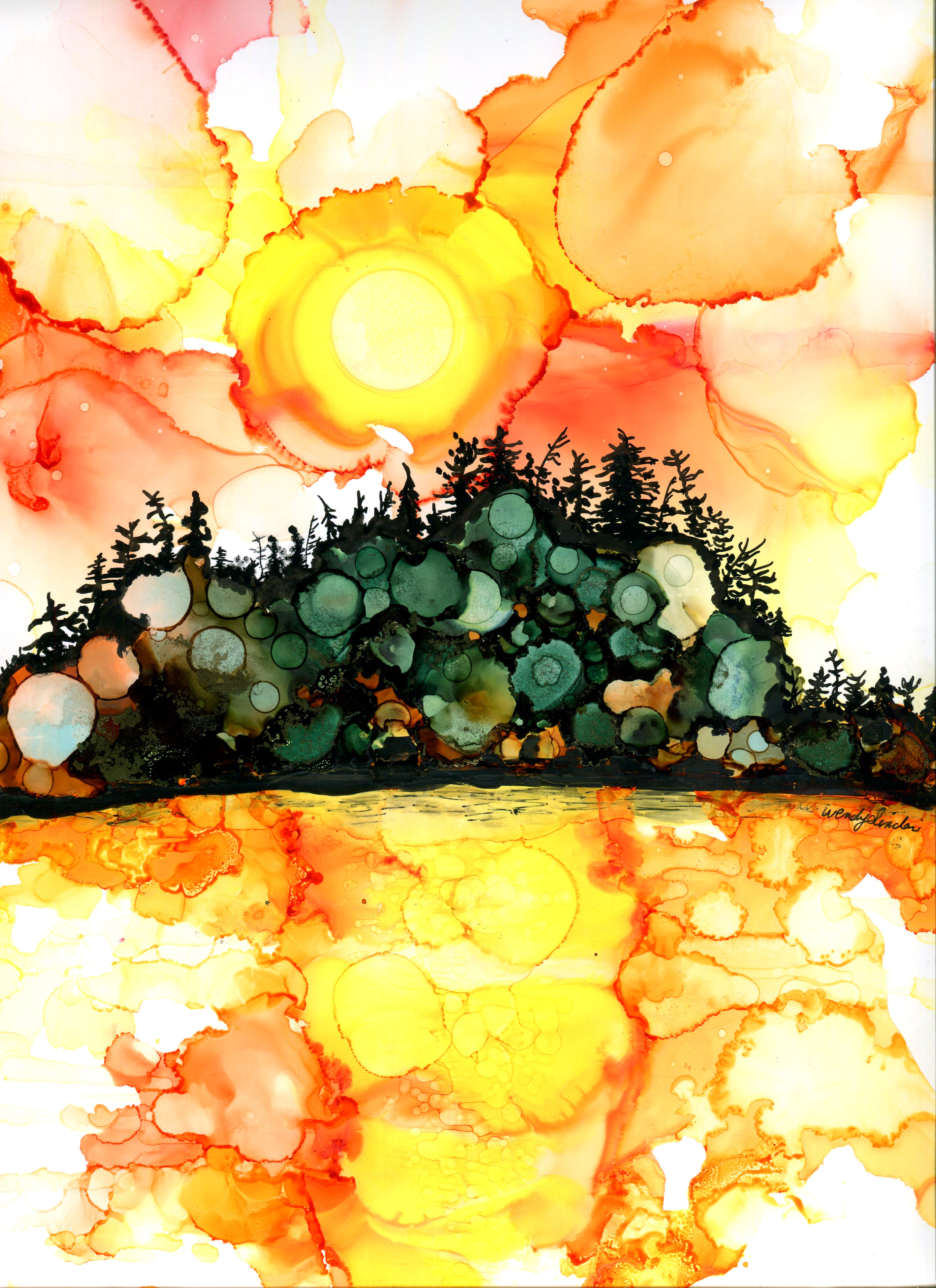 Original art by Toronto artist, Wendy Sinclair. This is a nature scene of an island in Georgian Bay. The medium used is alcohol inks on yupo paper.