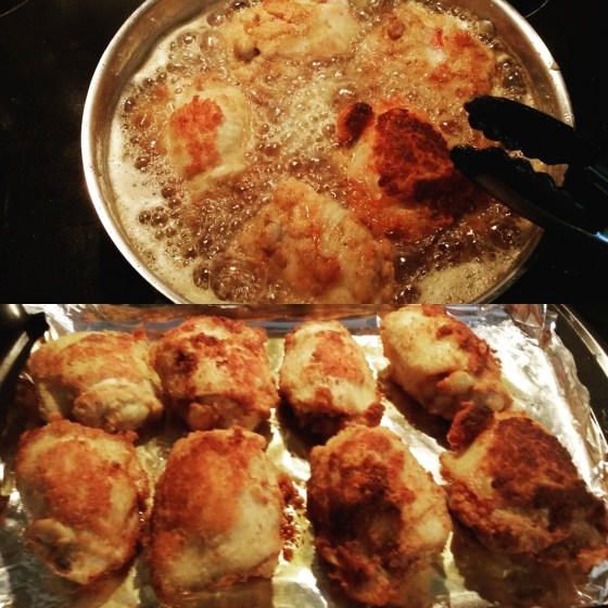 Fried chicken thighs with coconut flour crust