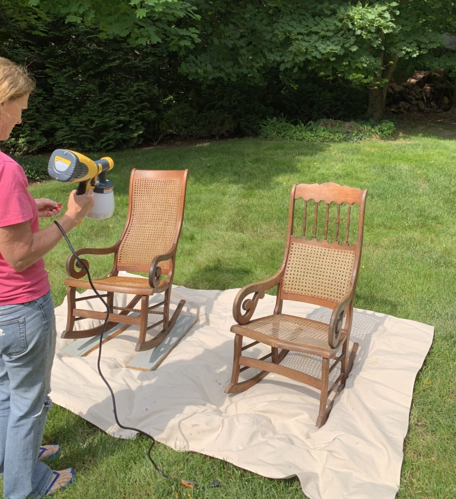 spray painting rocking chairs