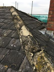 Detail of roof ridge coper