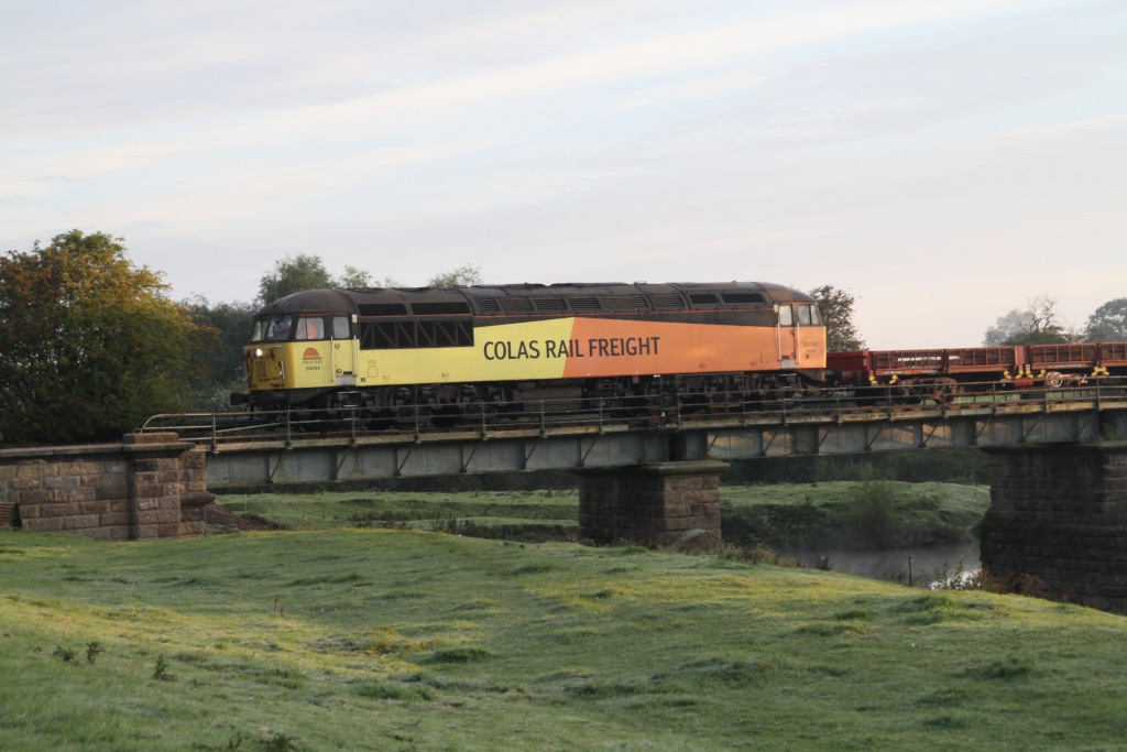 Colas Rails 56094 crossing Swale Bridge with the incoming rail train