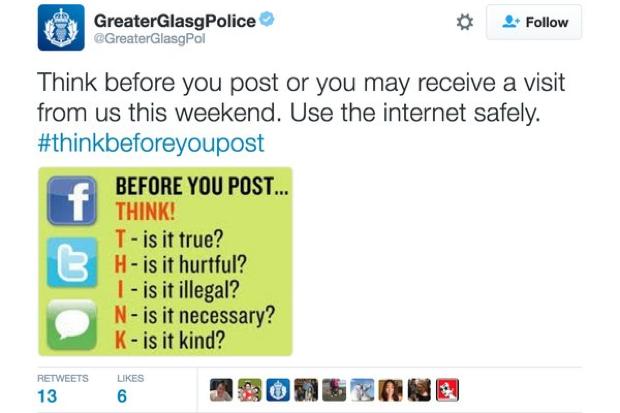 Glasgow Police tweet