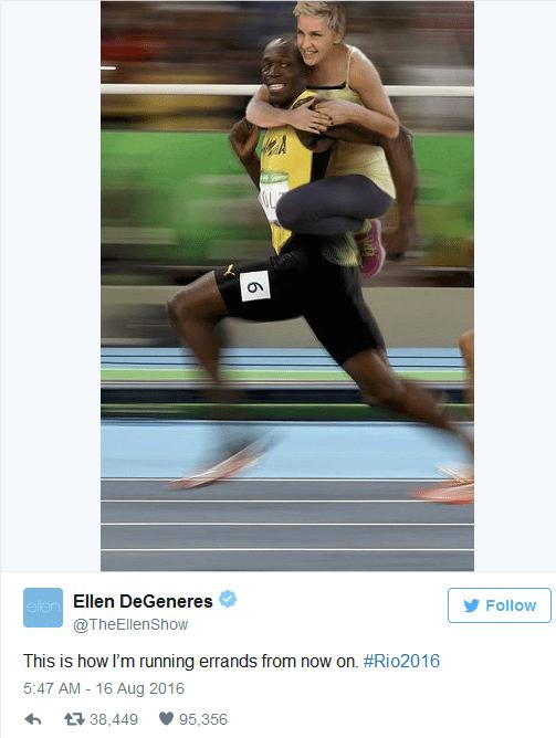 Ellen DeGeneres and Usain Bolt