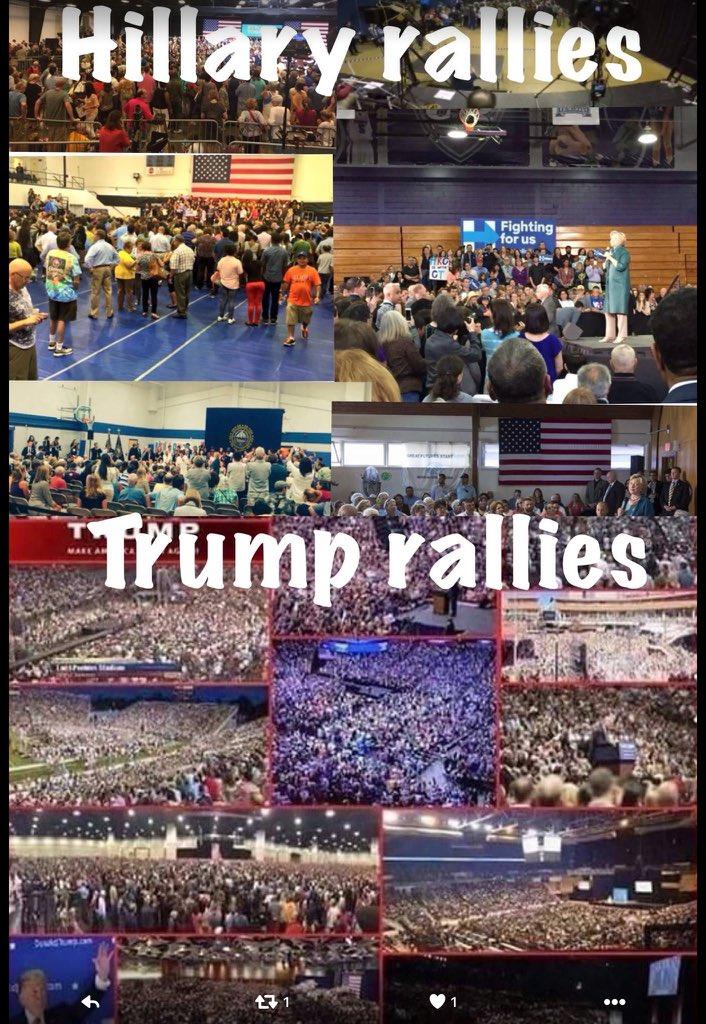 Trump rallies huge, Hillarys sparse