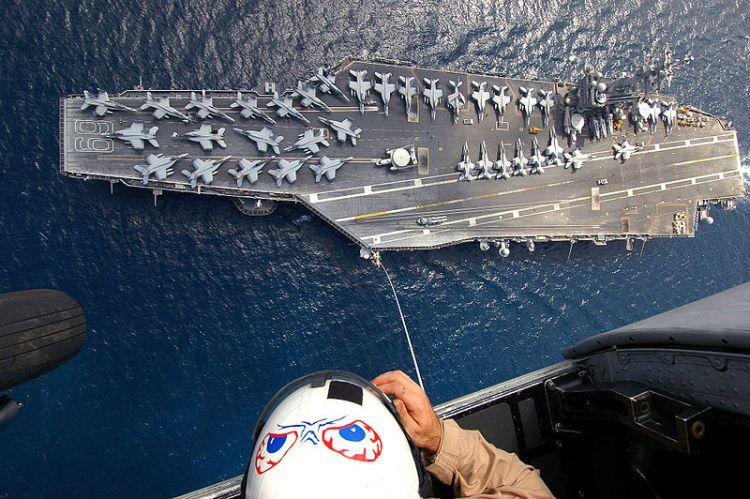 The Nimitz-class aircraft carrier USS Dwight D. Eisenhower (CVN-69)