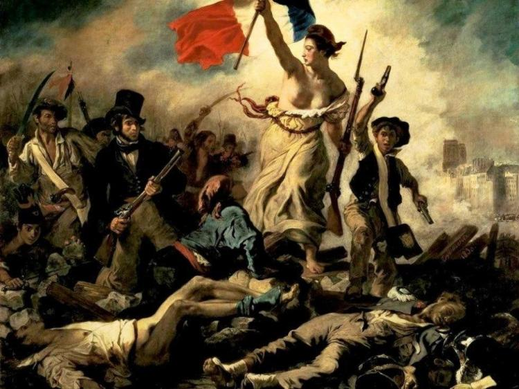 """""""La Liberté guidant le Peuple"""" (Liberty guiding the People), by Eugène Delacroix, shows revo-lutionaries storming the citadels in 1789, bringing down the old aristocratic French regime."""