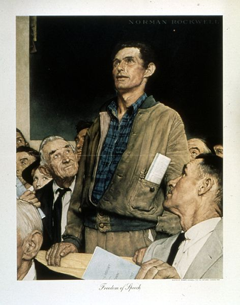 Freedom of Speech, by Norman Rockwell